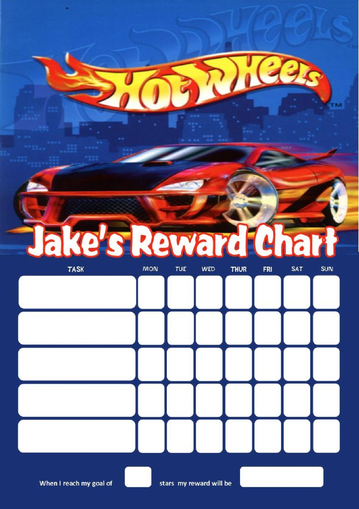 Personalised Hotwheels Reward Chart adding photo option ...